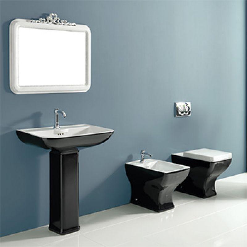 Włoskie wyposażenie łazienki - czarno biała ceramika sanitarna od Vitruvit